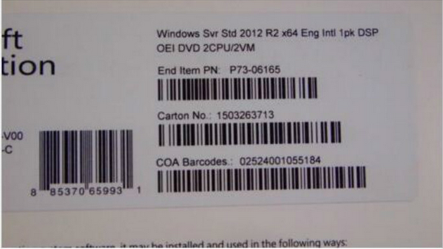 Online Activation Standard R2 x 64bit Windows Server 2012 Versions OEM Box 2 CPU 2 VM / 5 CALS