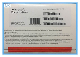 Çin 64 Bit Microsoft Windows 10 Operating System Builder OEM includes COA  Factory Sealed Tedarikçi